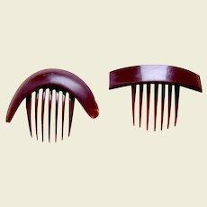 Two mid Victorian hinged hair combs faux tortoiseshell hair accessories