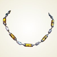 Art Deco necklace Venetian or Czech amber iridescent glass beads (AAA)