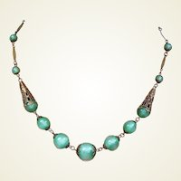 Art Deco necklace green Peking glass Czech beads (AAB)