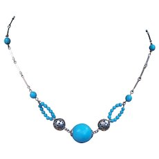 Machine Age style necklace Art Deco chrome blue beads (AAH)