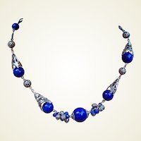 Art Deco machine age necklace blue glass beads filigree (AAO)