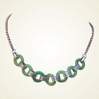Jakob Bengel necklace Art Deco machine age bakelite chrome glass (AAQ)