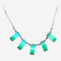 Jakob Bengel necklace Art Deco machine age glass chrome (ABK)
