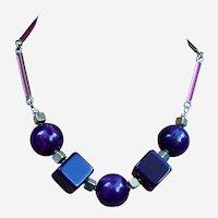 Machine Age style necklace Art Deco glass chrome  beads (AAU)
