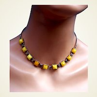 Art Deco machine age geometric necklace faux amber chrome (AAW)