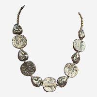 Vintage necklace Modernist style brass beads choker (ABG)