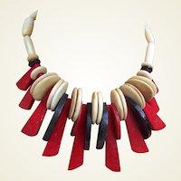 Vintage Danish Modernist necklace choker hot red design (ABI)