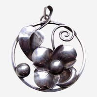 Sterling silver 835 modernist style floral pendant