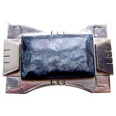 Jakob Bengel modernist style rectangular brooch for Fabon Paris