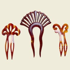 Three Art Deco period hair combs celluloid hair accessories vanity item