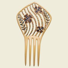 Art Deco French ivory comb with jet stones hair ornament