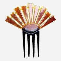 Art Deco sunray style hair comb amber celluloid hair ornament