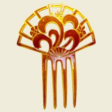 Oversized Art Deco hair comb amber celluloid Spanish style hair accessory