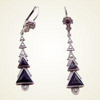 Art Deco earrings jet and marcasite drop pendants