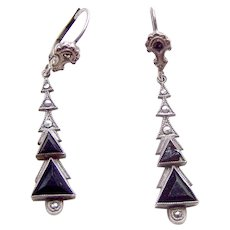 Art Deco earrings jet and marcasite drop pendants