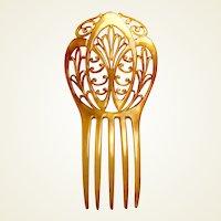 Art Nouveau hair comb blonde celluloid hair ornament vanity item