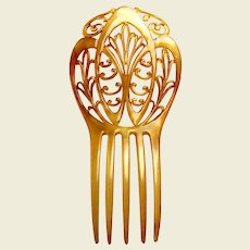 Art Nouveau hair comb blonde celluloid hair ornament vanity item