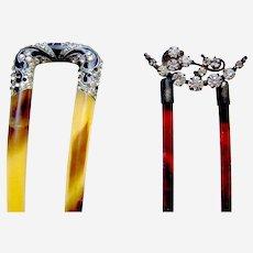 Two Edwardian rhinestone hair combs hair accessories