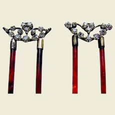 Two Edwardian rhinestone hair combs hair accessories vanity item