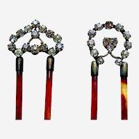 Two Edwardian rhinestone hair combs hair accessories vanity item