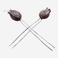 Two late Victorian white metal filigree hair pins tulip design hair ornaments (AAA)