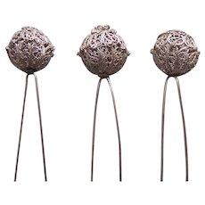 Three late Victorian white metal filigree hair pins balls design hair ornaments (AAB)