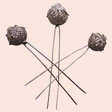 Three late Victorian white metal filigree hair pins balls design hair ornaments (AAC)