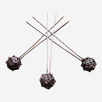Three late Victorian white metal filigree hair pins balls design hair ornaments (AAE)