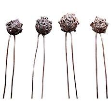 Four late Victorian white metal filigree hair pins balls design hair ornaments (AAF)