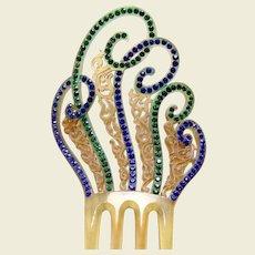 Art Deco hair comb blue green rhinestone hair accessory