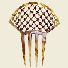 Art Deco lattice design hair comb rhinestone hair accessory