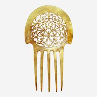 Art Nouveau hair comb blonde celluloid interlaced hair accessory