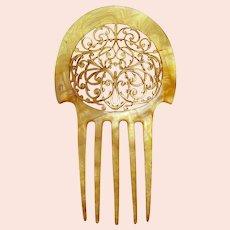 Art Nouveau hair comb blonde celluloid interlaced hair accessory