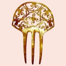 Art Nouveau hair comb blonde celluloid scroll hair accessory