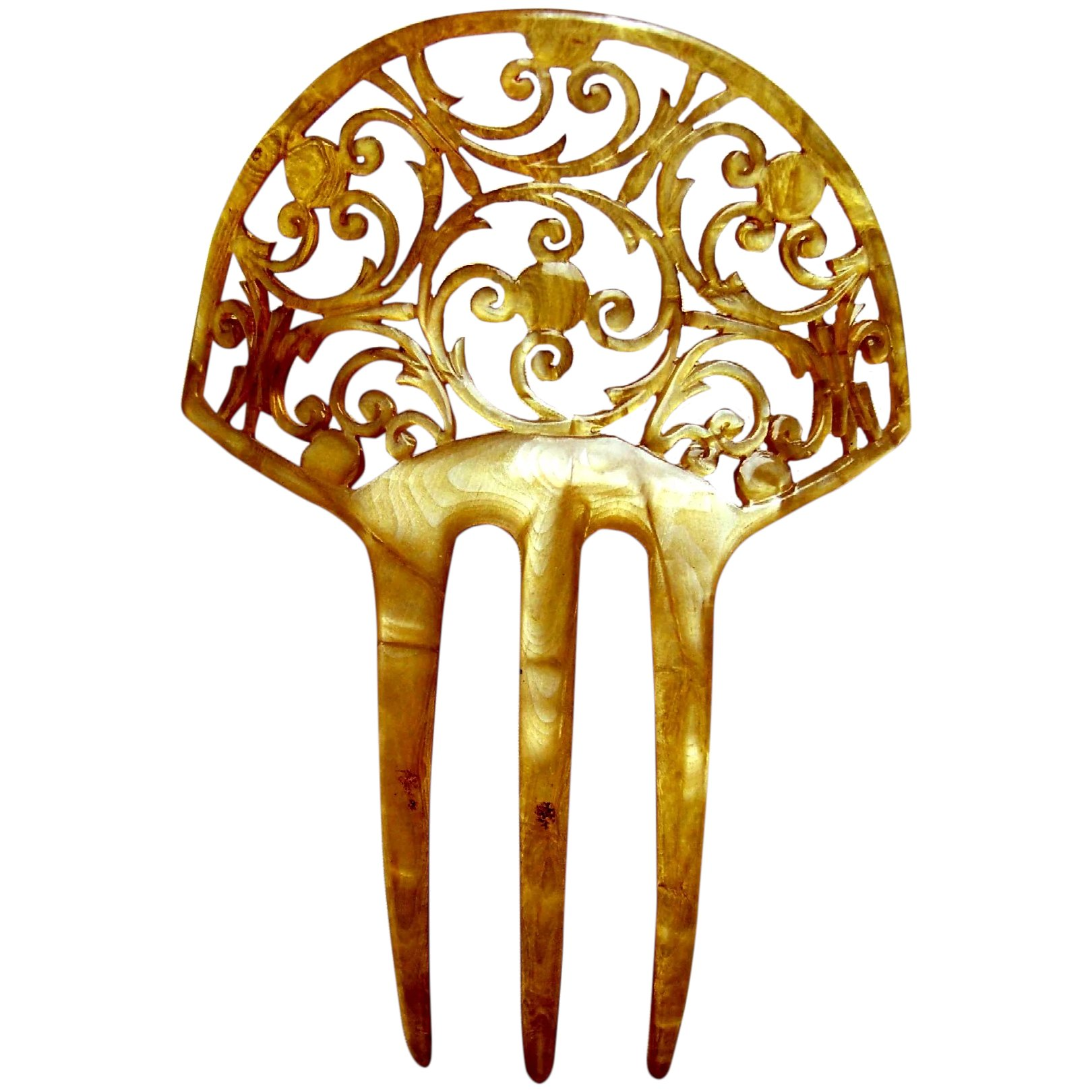 Art Nouveau Hair Comb Blonde Celluloid Scroll Hair Accessory The Spanish Comb Ruby Lane