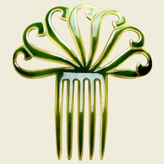 Art Deco hair comb celluloid overlay scallop hair accessory