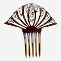 Large Art Deco hair comb celluloid overlay hair accessory
