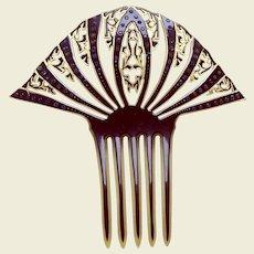 Large Art Deco hair comb celluloid overlay hair accessory
