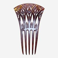 Art Deco hair comb Egyptian Revival papyrus design hair accessory