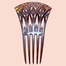 Art Deco hair comb Egyptian Revival papyrus design hair accessory