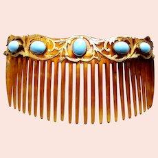 Art Nouveau hair comb turquoise cabochon back comb