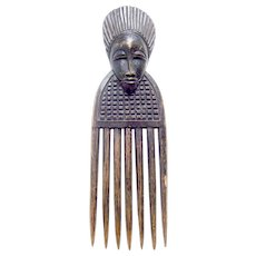 African hair comb Luba people wooden carved hair ornament