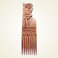 African hair comb wooden erotic carved Tanganyika hair accessory (AAC)