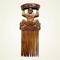 Carved wooden hair comb from Tanimbar, Indonesia hair accessory