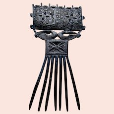 Timor island hair comb carved wooden ethnic Indonesia hair ornament