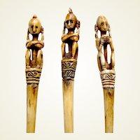 Three Nias island hair pins carved bone ethnic Indonesia