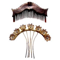 Two classic Java hair combs Indonesian hair accessories
