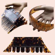 Ceylon (Sri Lanka) 2 male tortoiseshell hair combs from Kandy hair accessory