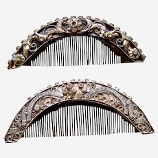 Two vintage Java Indonesian hair combs traditional hair ornament (AAR)