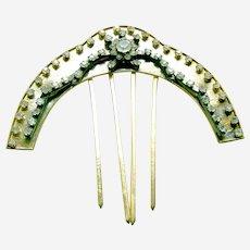 Vintage Indonesian hair comb Java rhinestone hair ornament (AAT)